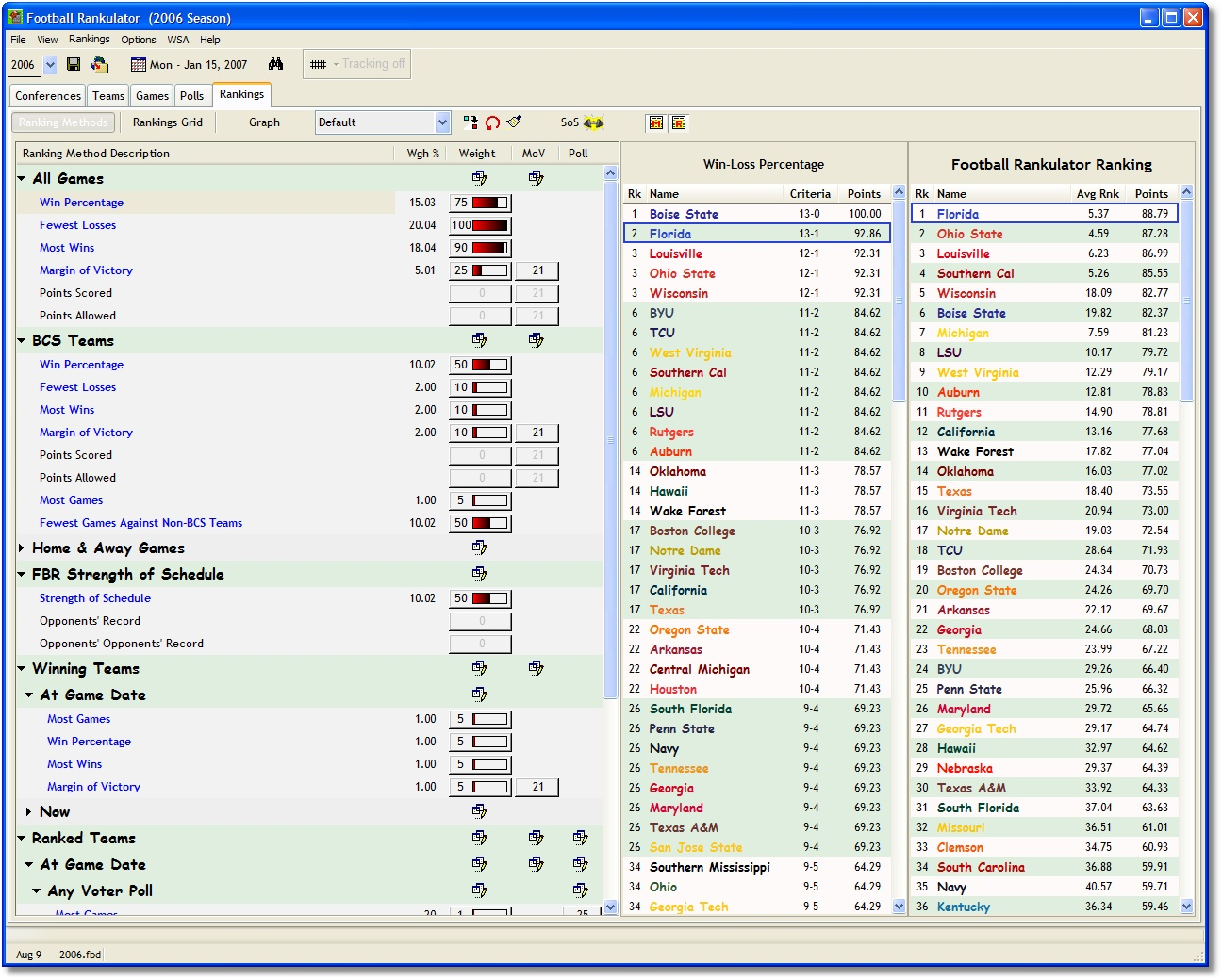 Click to View Full ScreenshotFootball Rankulator 2.2.0 screenshot